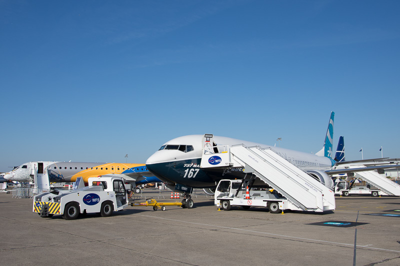 ボーイング 737 MAX 9型機。飛行展示を予定している