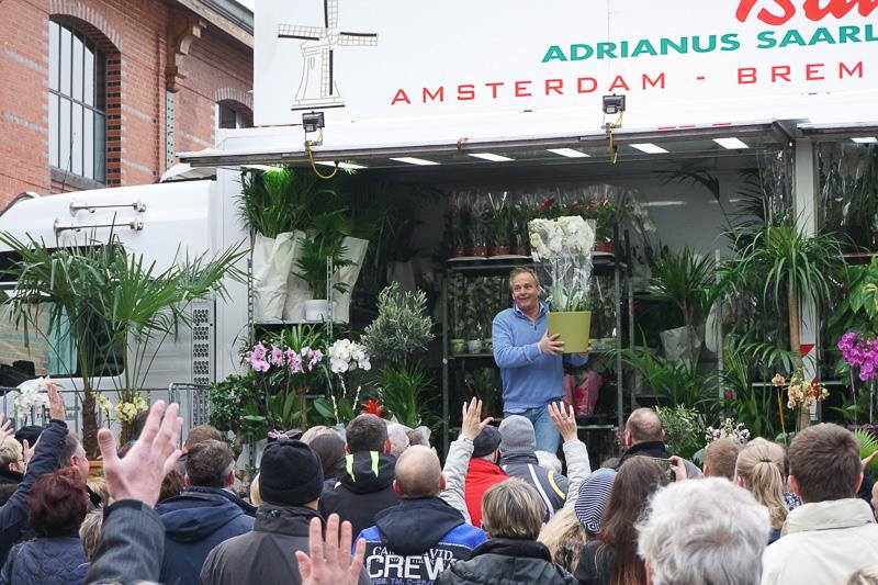 アムステルダムのショップが生花のたたき売り