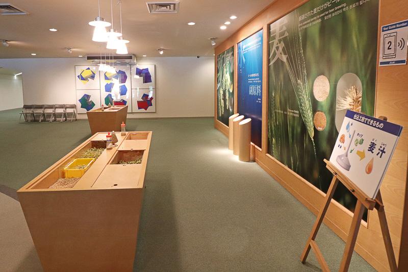 麦芽やホップなどの原料展示コーナー
