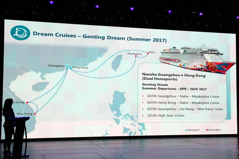 ゲンティン ドリームによる広州・香港発着クルーズ。那覇・宮古島の日本コースとダナンなどのベトナムコースがある