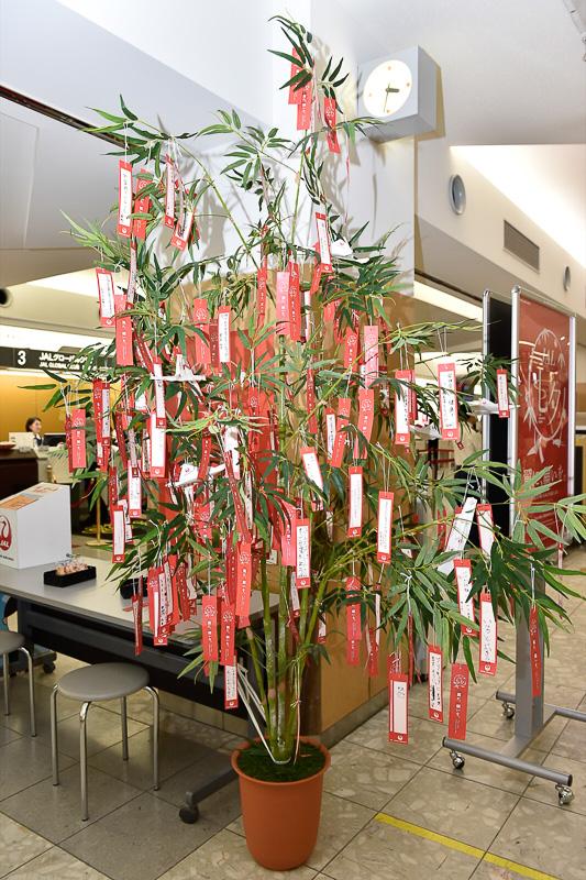 笹竹はファーストクラスのチェックインカウンター前に設置されていた