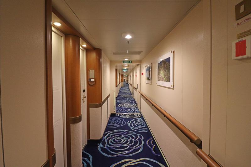 左舷側と右舷側で、赤と青にじゅうたんの色が分けられている