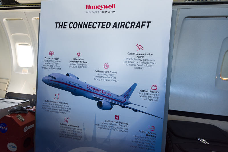 現在のN757HW「Connected Aircraft」に搭載されてる技術を紹介するパネル