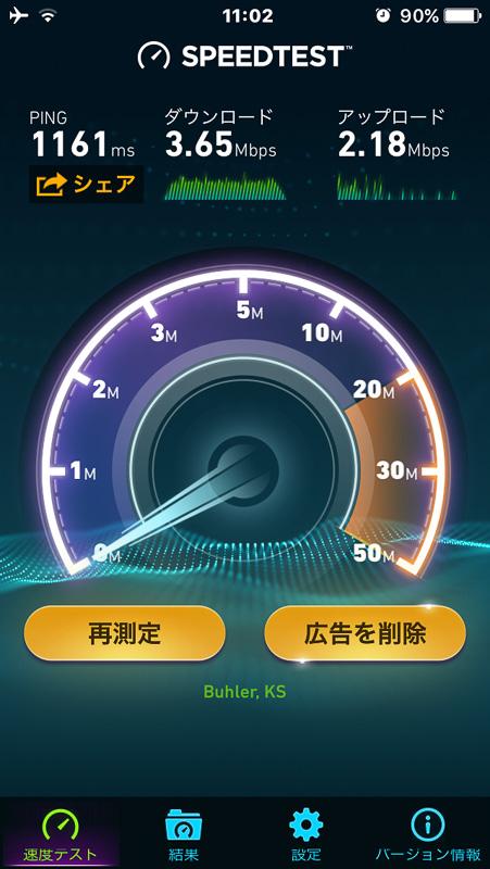 速度テストの結果はダウンロードが3.65Mbps、アップロードは2.18Mbps