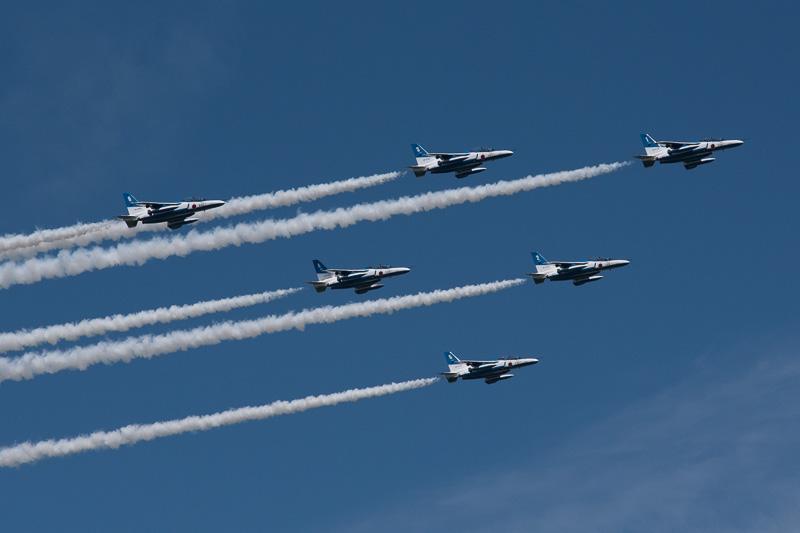 航空自衛隊のアクロバットチーム「ブルーインパルス」。松島基地をホームベースとする