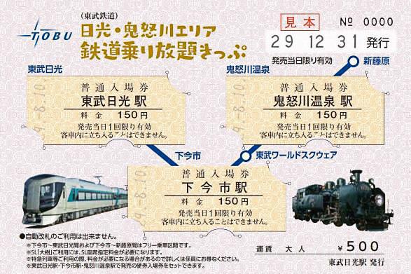日光・鬼怒川エリア鉄道乗り放題きっぷへの入場券セット(イメージ)