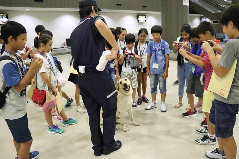 終了後、参加者全員、麻薬探知犬に興味津々