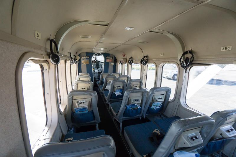 Vistalinerの内部。操縦席含め19人乗り