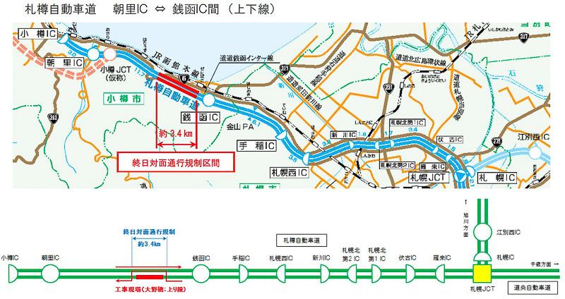 NEXCO東日本 北海道支社は札樽自動車道 朝里IC~銭函ICにおいて終日対面通行規制を実施する