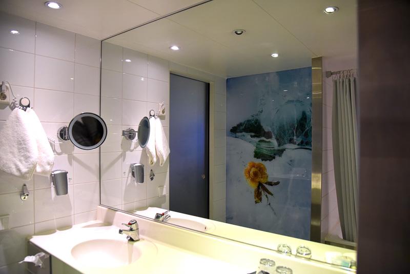 洗面所全体は特大の鏡と写真家による作品を壁全体にデコレーション