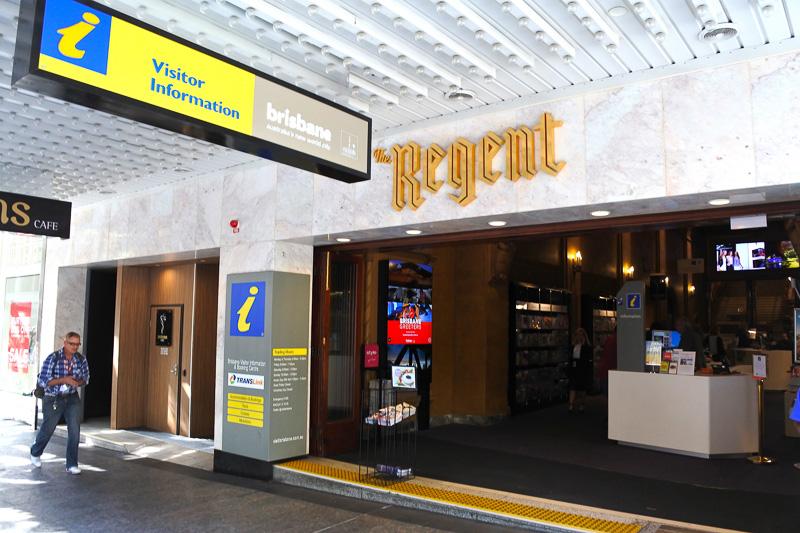 エントランスは狭めだが、中に入ると驚きが待っている「リージェント・シアター&ブリスベン観光案内所」
