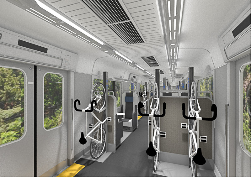 1~3号車と5~6号車は座席と自転車を搭載するサイクルラックを設置