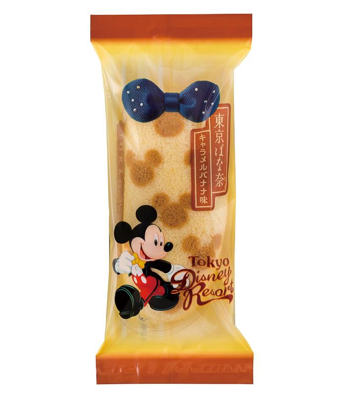 ミッキーマウスのデザインがあしらわれた東京ディズニーリゾート限定の「東京ばな奈」。中身はキャラメルバナナ味