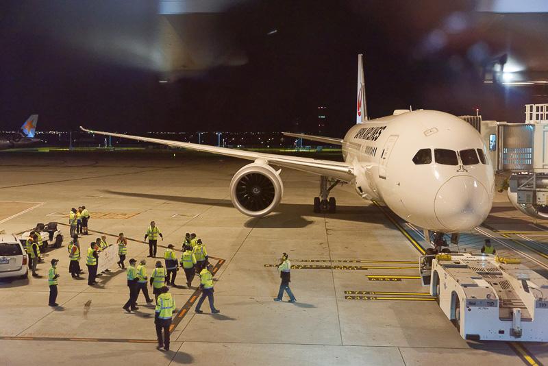 出発を待つJL774便、ボーイング 787-8型機