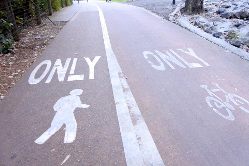 歩道も2つに分かれており、トレーニング中の人々の姿が見られる