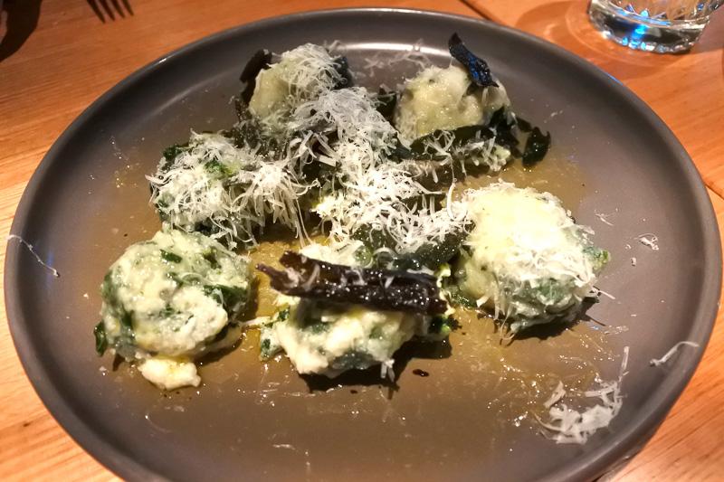 「ricotta & spinach dumplings, sage beurre noisette」