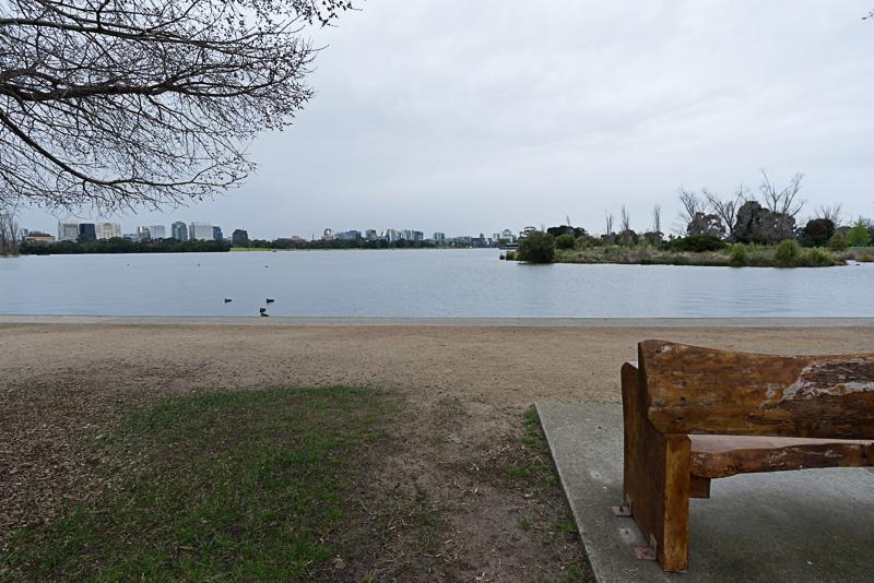 静かな湖がサーキットの中央に
