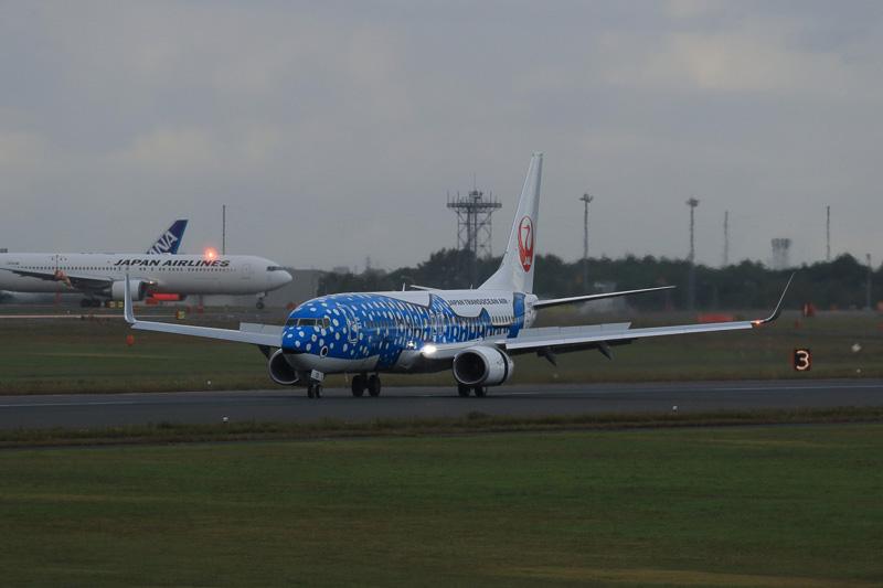 9月14日16時8分ごろに新千歳空港B滑走路(19L)に着陸した新ジンベエジェット