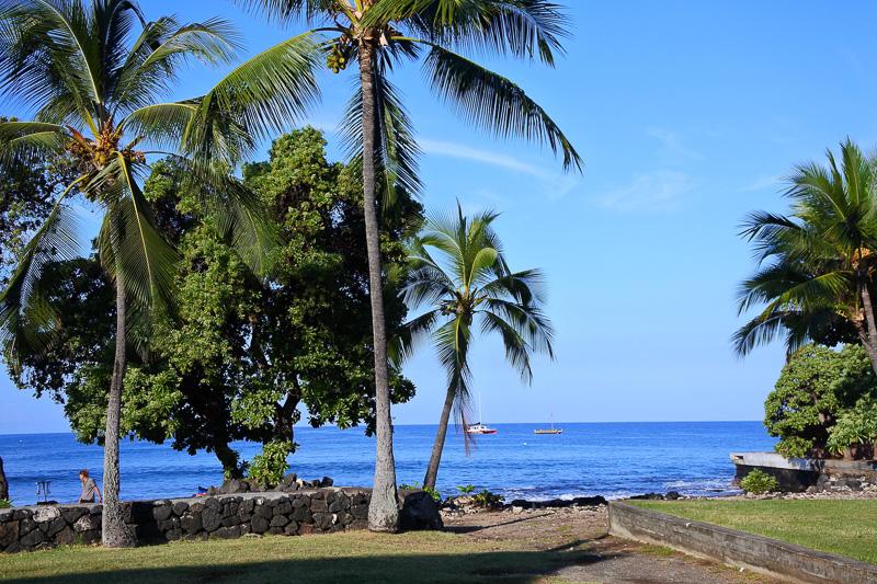 ハレ・ハラワイ公園に到着し、青い海と空でパワーチャージ