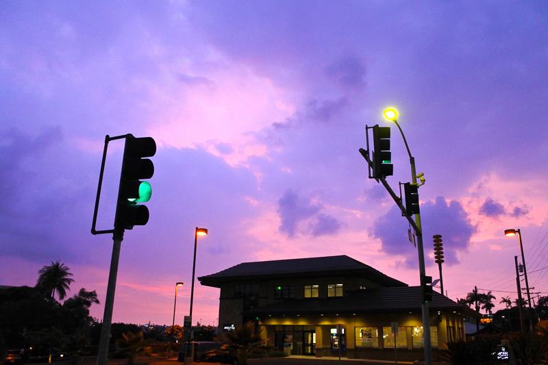 そのまま外へ出ると空が見たことのないほど美しい色合いになっていた
