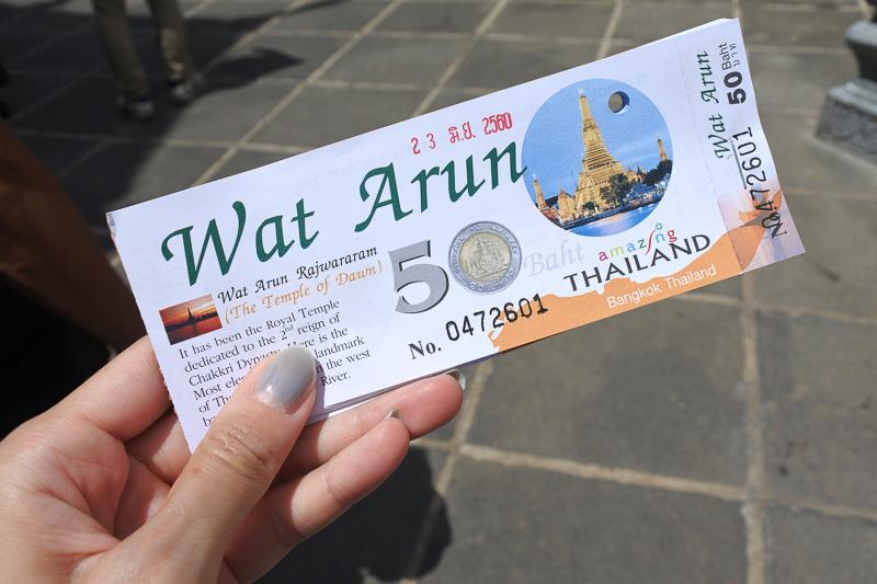チケットには「ワット・アルン」が描かれた硬貨が