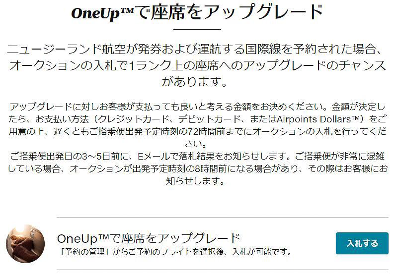 「OneUpアップグレード」のWebサイトから予約番号などとともに入札する
