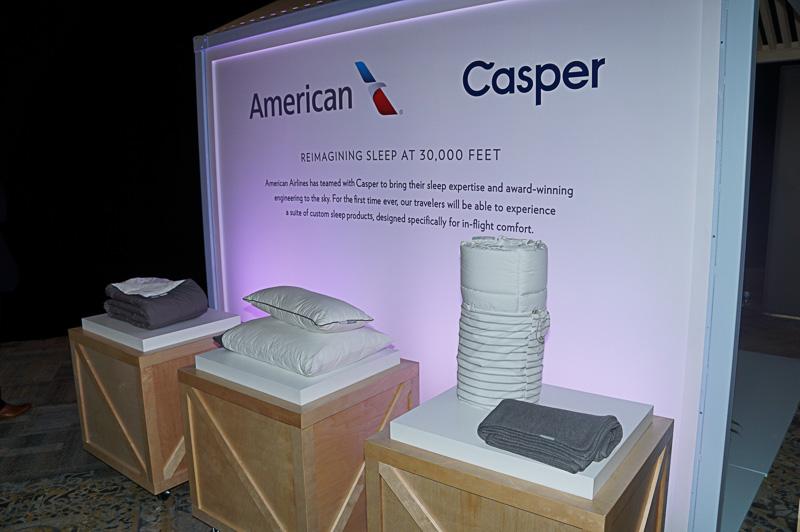 アメリカン航空のプレミアムクラスで採用されるCasperの寝具などが展示された