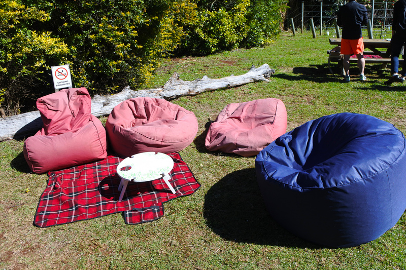 テーブルや芝生に座ってのピクニックスタイルでテイスティングできる