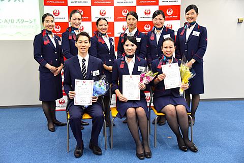 JAL、成田事業所で接客ナンバー1を決定する「N-1グランプリ 2017」開催 「N-1グランプリ 2017」に出場したJAL成田地区旅客サービス部門の9名