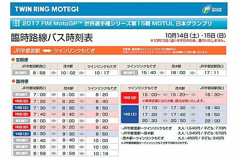 JRバス関東、「MotoGP日本グランプリ」に合わせて宇都宮駅/水戸駅~ツインリンクもてぎで臨時バスを10月14日~15日運行 ジェイアールバス関東はJR宇都宮駅西口~ツインリンクもてぎで臨時バスを運行する
