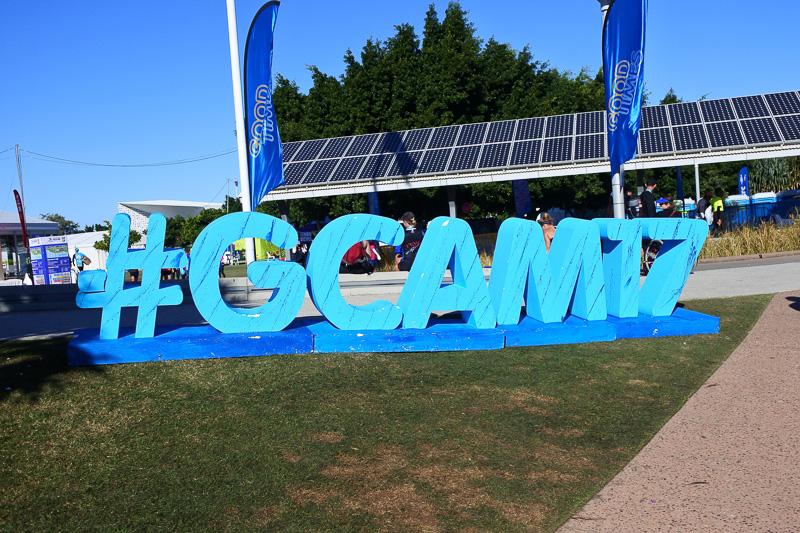 ハッシュタグ(#GCAM17)フォトスポットでは多くのランナーやボランティアスタッフらが記念撮影を行なっていた