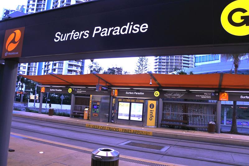 会場から歩いて10分ほどの「Southport Station」からライトレールでホテル直結の「Surfers Paradise」まで帰ることにした