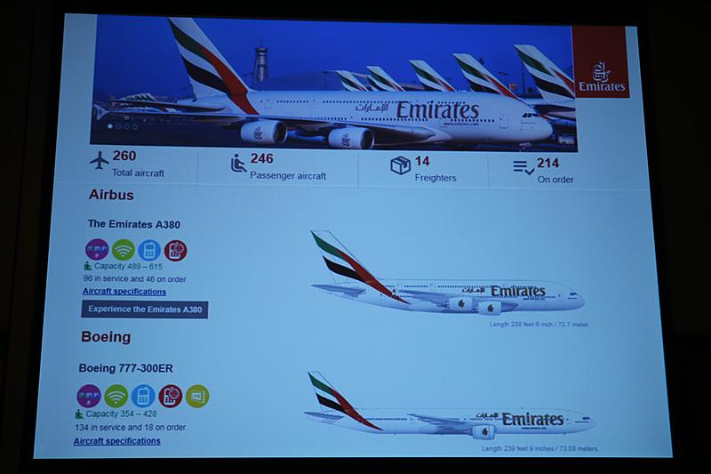 エミレーツ航空は成田からはエアバス A380型機を、羽田と関空からはボーイング 777-300ER型機を運航している