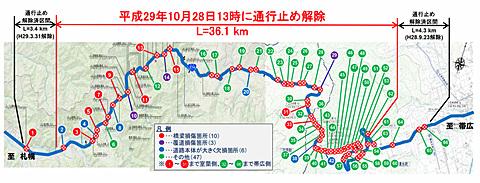 国交省、国道274号日勝峠の通行止めを10月28日13時解除。約1年2カ月ぶり 国道274号日勝峠がおよそ1年2カ月ぶりに復旧。10月28日13時に開通する