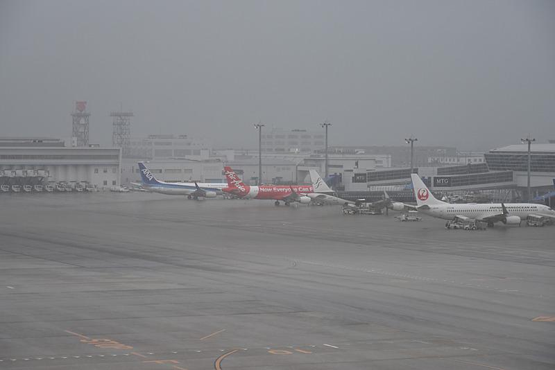 出発前のDJ1便。豪雨のため視程がかすんでいる