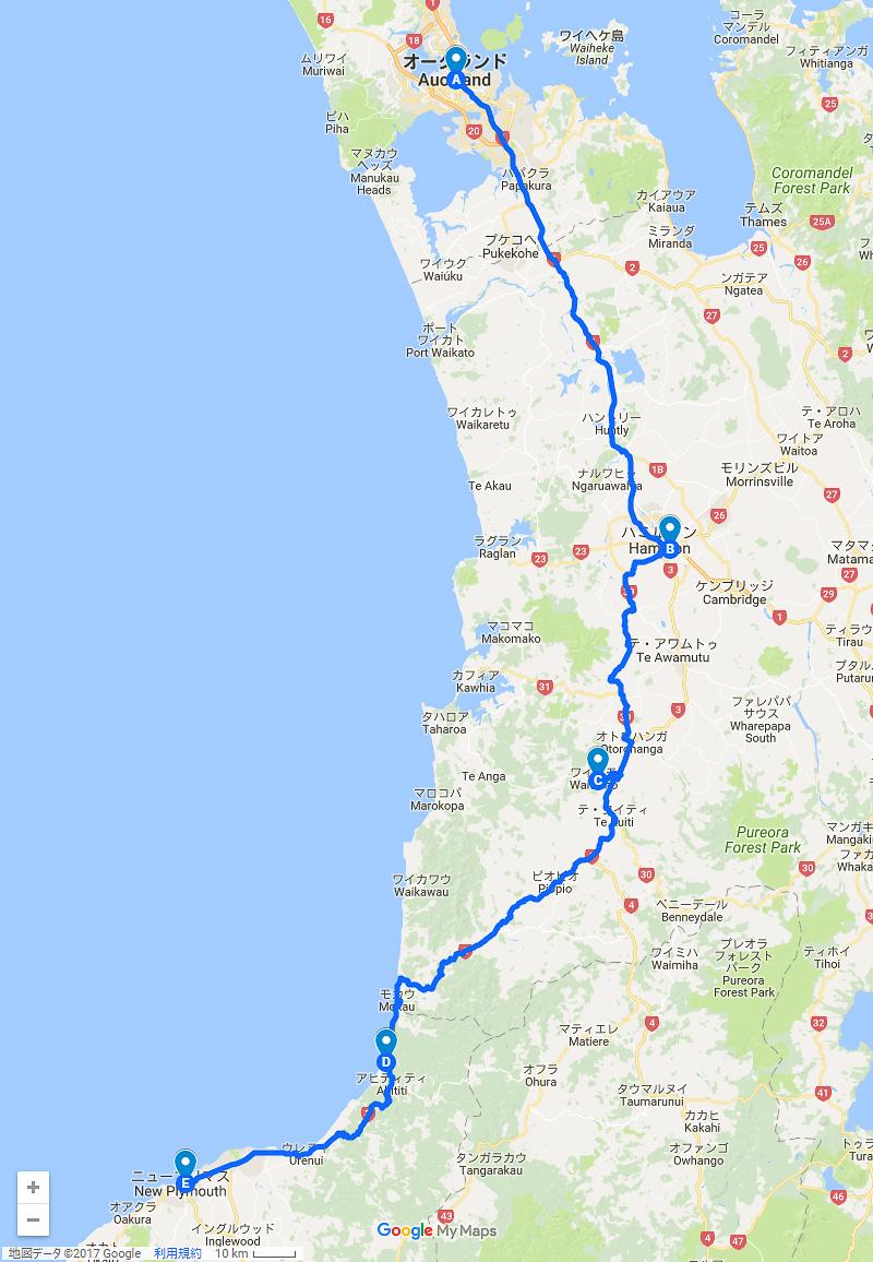 本記事の移動ルート。オークランドからハミルトン、ワイトモ、ニュー・プリマスまで約380kmの旅