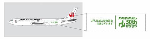 JAL、旭山動物園開園50周年を記念した特別塗装機を就航。シンリンオオカミをデザイン JALが「旭山動物園開園50周年」特別塗装機を就航