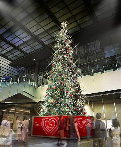 JR名古屋駅で今夜クリスマスイルミネーション点灯式。約12mのクリスマスツリーは名古屋地区最大 名古屋駅のJRゲートタワーエントランスにおいて、クリスマスイルミネーションの点灯式が11月8日18時20分から実施される。クリスマスツリーは約12mの高さがある(画像提供:JR東海)