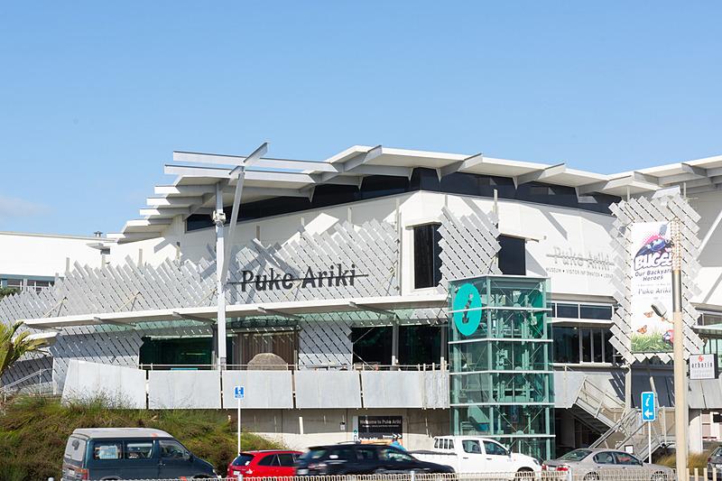観光案内センターや博物館などの複合施設「プケ・アリキ(Puke Ariki)」
