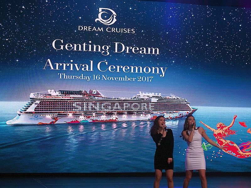 ゲンティン ドリームのZODIAC THEATERで実施したシンガポール就航記念式典