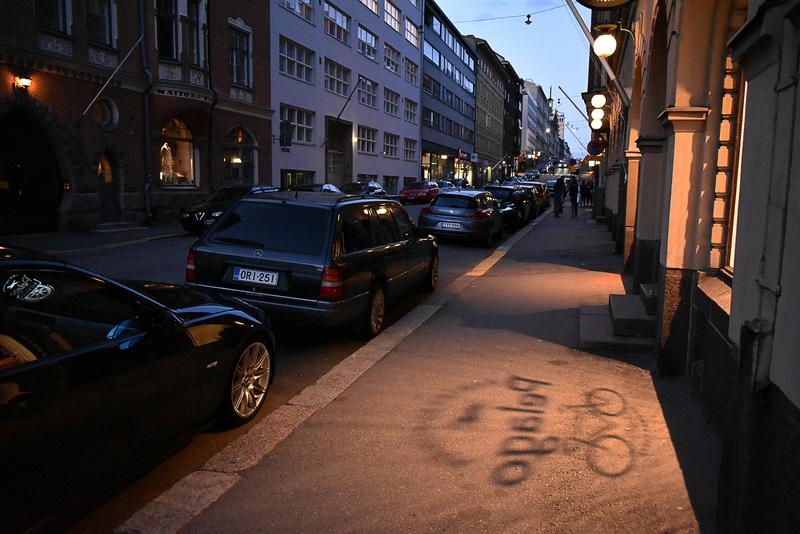 陽が落ちるころのヘルシンキの街