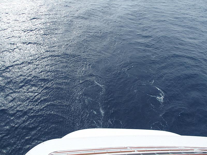 午後になってワールド ドリームは針路を東に変え、速度も4ノット(約7.4km/h)まで落としてゆるゆると航行した