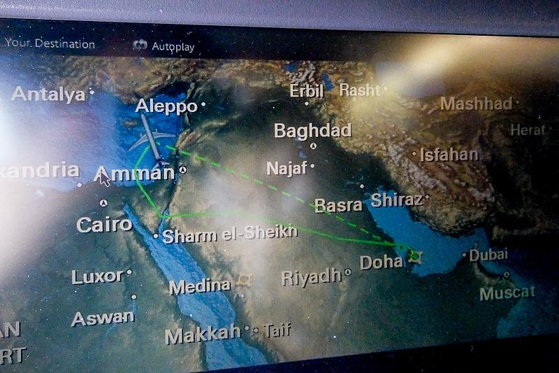カタール~キプロスへはヨルダンやイスラエルの南側を迂回するルートをとり、4時間ほどのフライトだった