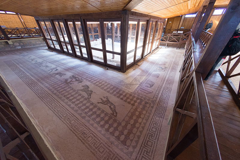 多数のモザイクが残されているディオニソスの館(The House of Dionysos)。手すりの付いた廊下から、各部屋に敷かれたモザイク画を見ることができる