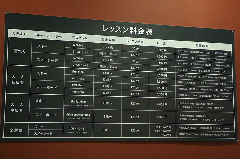 スキー/スノーボードレッスンは、年齢やレベルで分けられている。初級者向けは120分で5500円から
