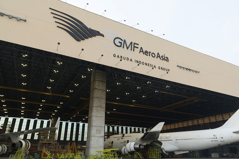 ガルーダ・インドネシア航空グループのメンテナンス事業会社、GMFエアロアジアのハンガー(格納庫)。写真はワイドボディ機の重整備も可能なハンガー1