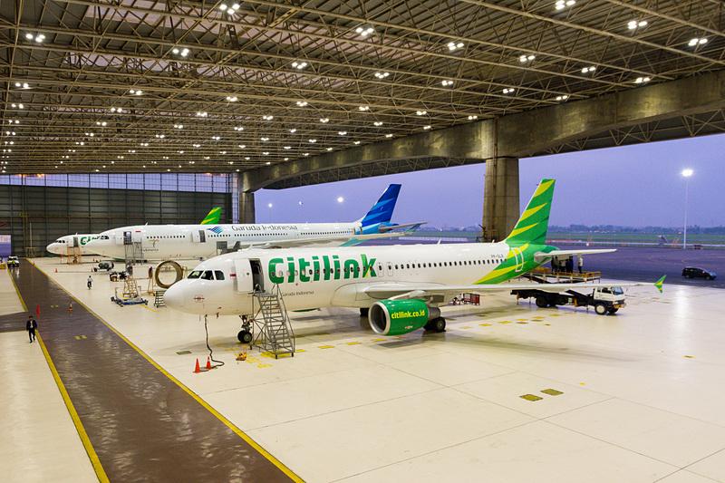 ガルーダ・インドネシア航空系LCCの「Citilink(シティリンク)」のエアバス A320型機の姿も
