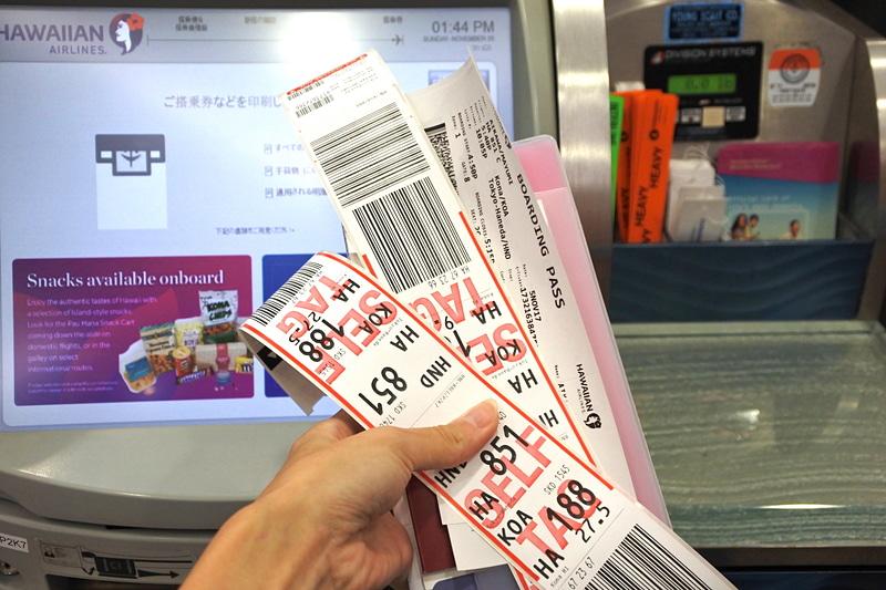 搭乗券と荷物用のタグ等を受け取る