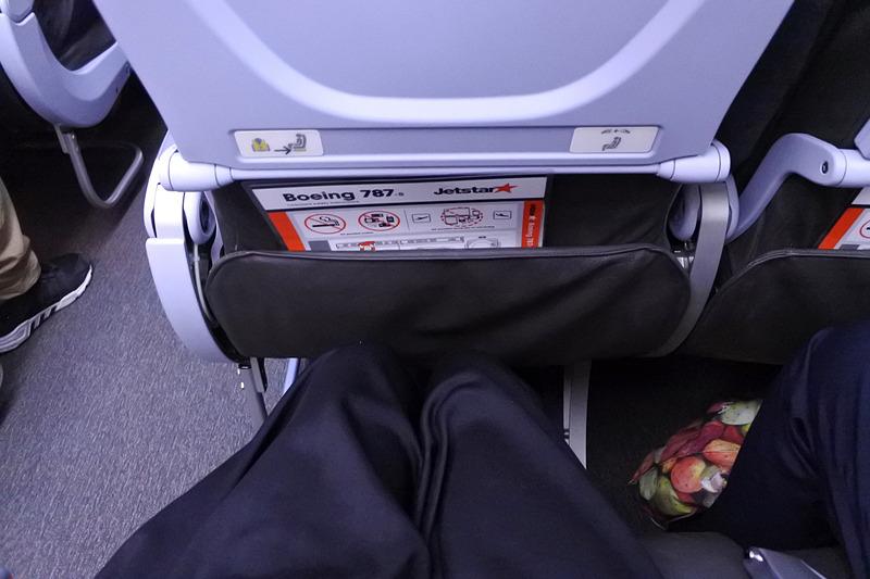 足元はシートポケットにドリンクを入れると若干狭さを感じる程度
