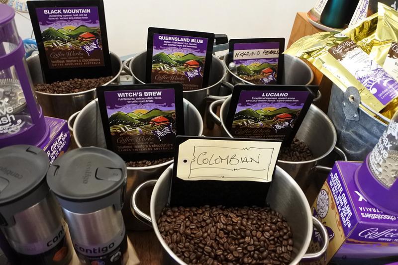 クイーンズランド産のコーヒーから世界の銘柄まで幅広い種類が購入可能